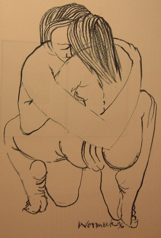 Liebespaar I 1996 (Kreide auf Papier, 100 x 65 cm)