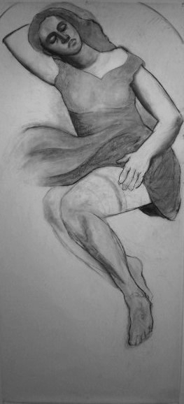 Sleeping Beauty, 1996, charcoal/vellum, 36x72""