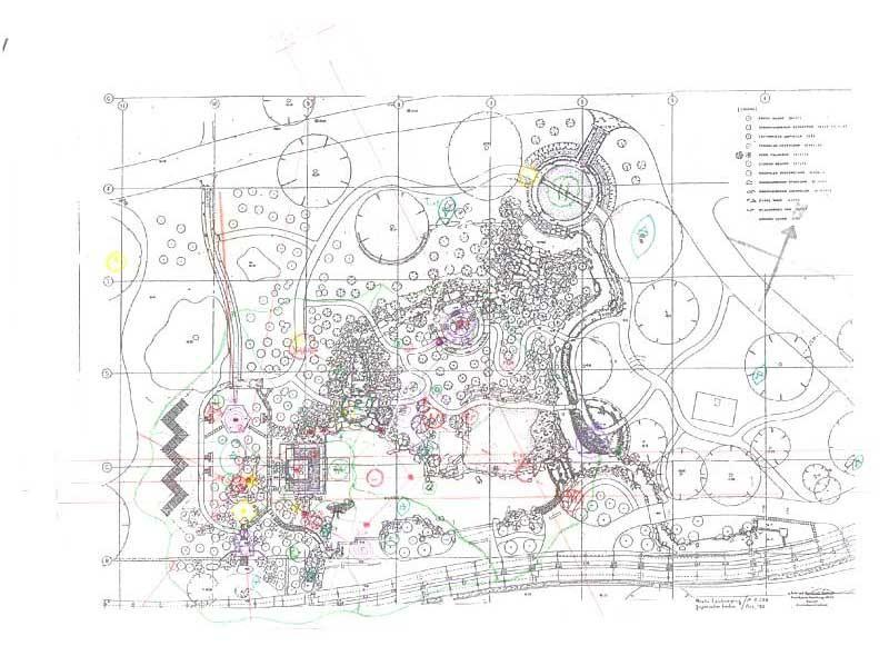 Japanischer Garten Wallringpark Hamburg. Oben Links: Landschaftsstruktur. Oben rechts: Gestaltungselemente. Abbildung Unten: Geomantie und Feng Shui Untersuchungen von Florian Grimm.  Professor Araki ist ein Meister seines Faches.