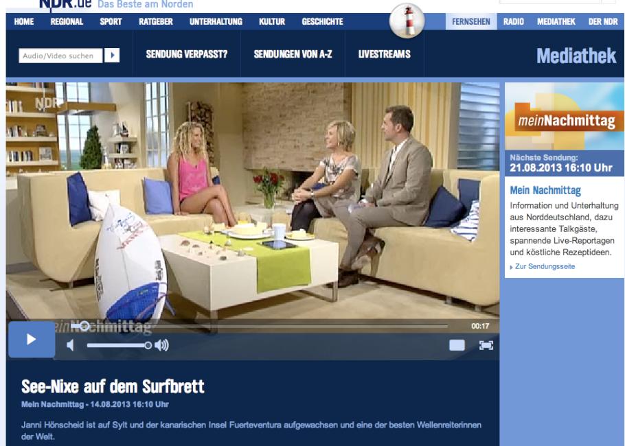 NDR Mein Nachmittag 2013 with Janni Hönscheid