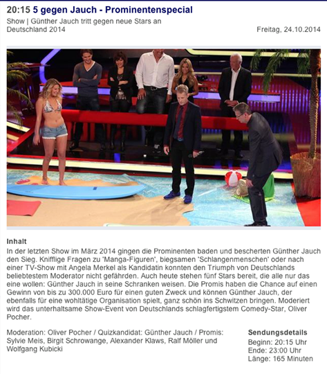 "RTL Tv ""5 gegen Jauch"" Prominentenspecial"