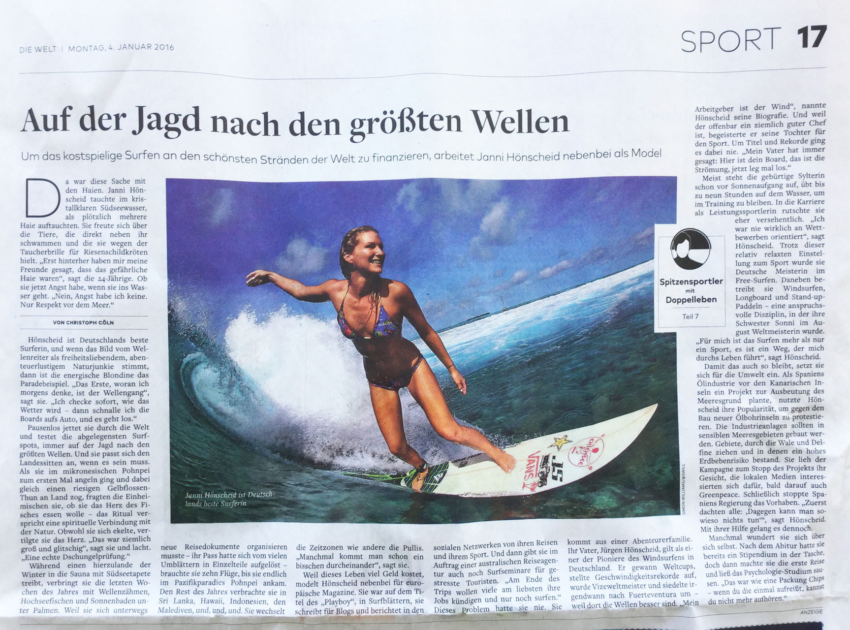 Welt newspaper January 2016