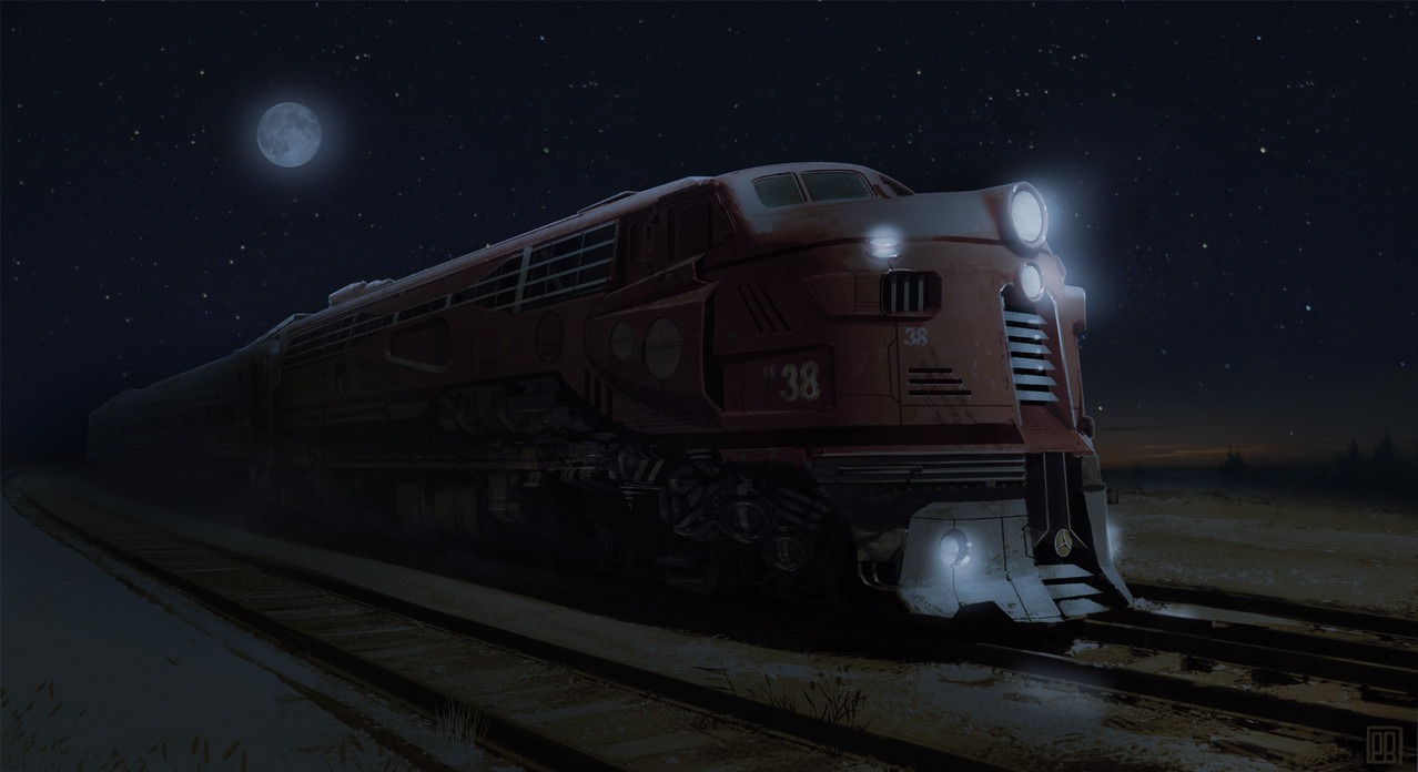 Train in Retro Future Design - night - Peter Bartels- Illustration - Concept Art