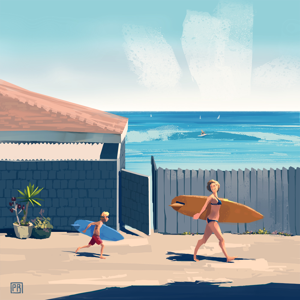 Surfing Mom - Peter Bartels- Illustration - Concept Art