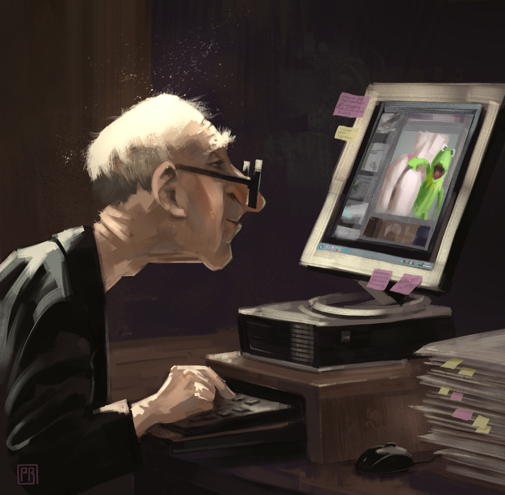Grandpa on the PC - Peter Bartels- Illustration - Concept Art