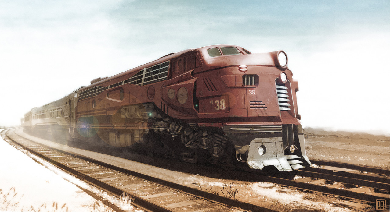 Train in Retro Future Design - Peter Bartels- Illustration - Concept Art