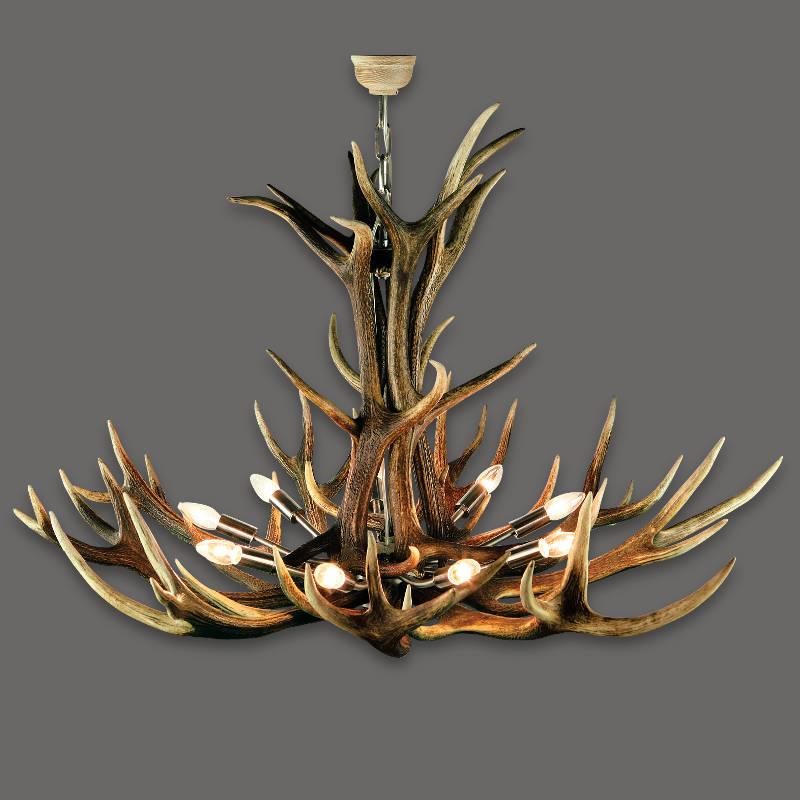 Prachtvoller-Kronenenleuchter-aus-Hirschgeweih-Abwurfstangen-und-Kerzenbirnen