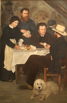 Le cabaret de la mère Antony à Bourron Marlotte par Pierre Auguste Renoir, 1866 - Alfred Sisley en arrière plan