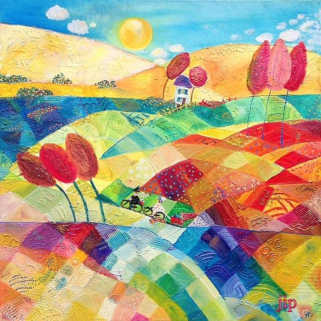 groot schilderij met vrolijke kleuren en twee fietsers
