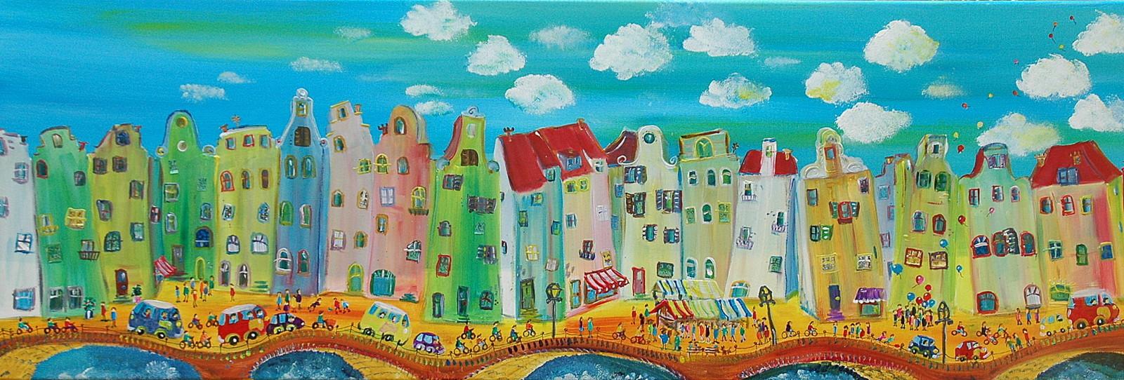 stad met markt