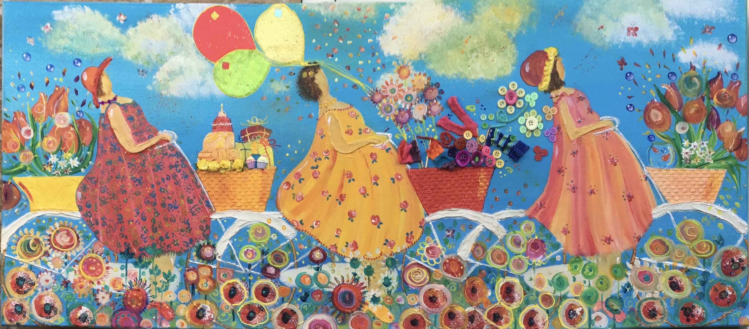 vrolijk schilderij met 3 dames op de fiets