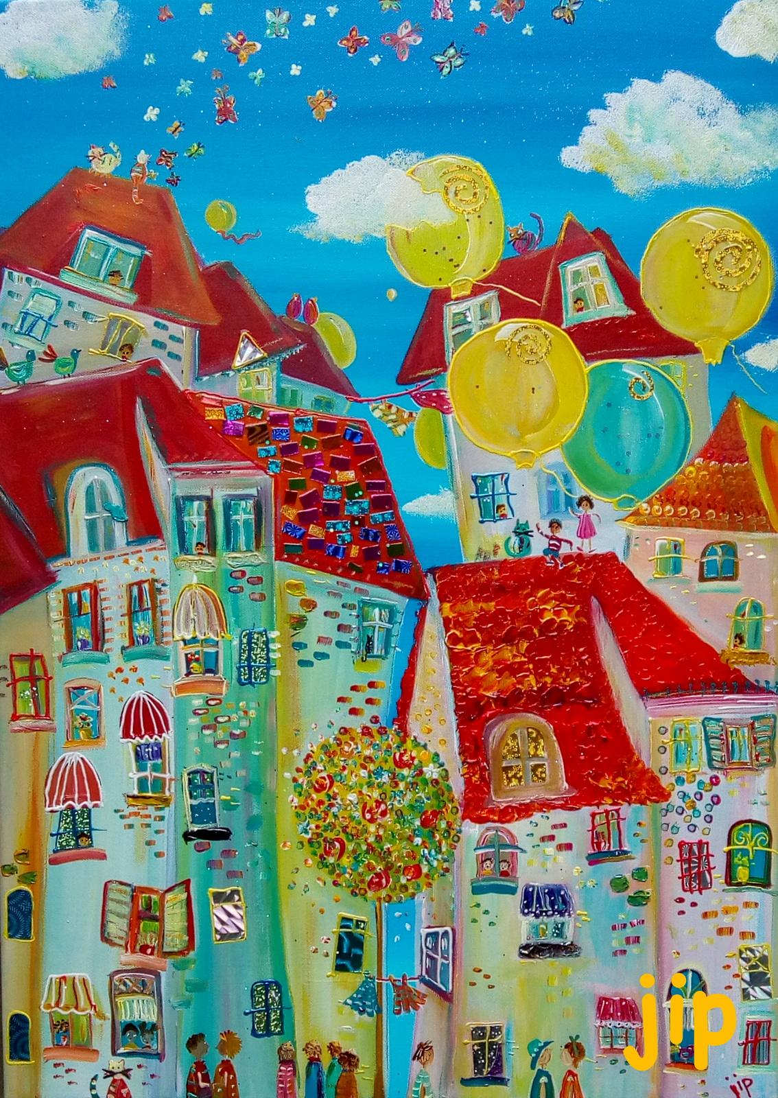 stad met ballonnen
