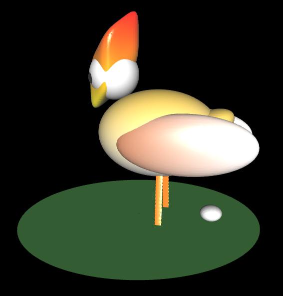 3D Huhn mit Ei - 3