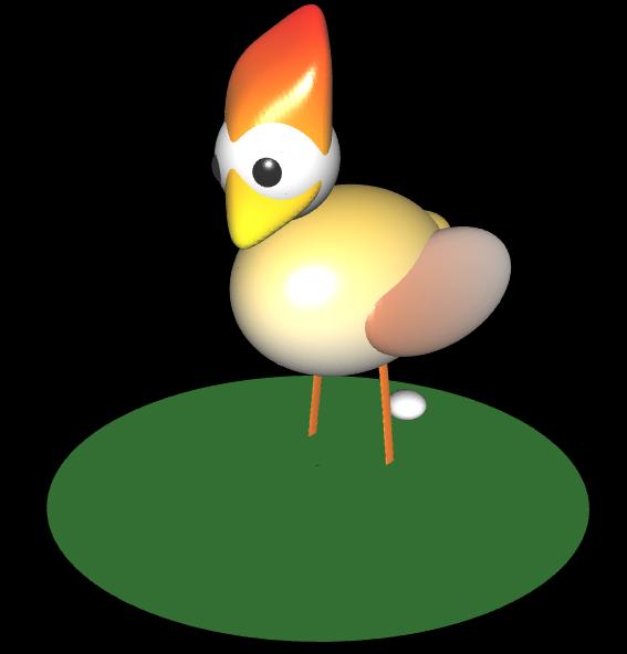 3D Huhn mit Ei - 1