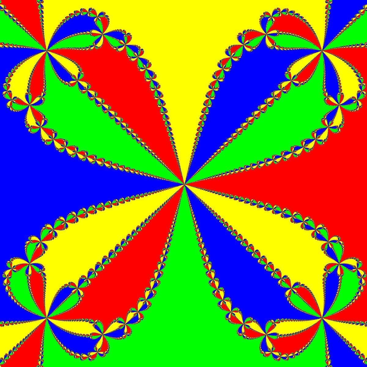 Newton - Basins of Attraction von f(z)=z^4-1, Zoom a