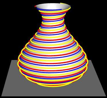Ziervase mit versetzten farbigen Spiralen