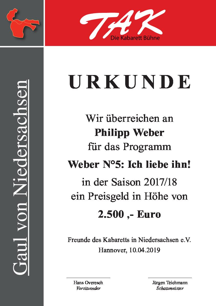 Urkunde Gaul von Niedersachen für Philipp Weber