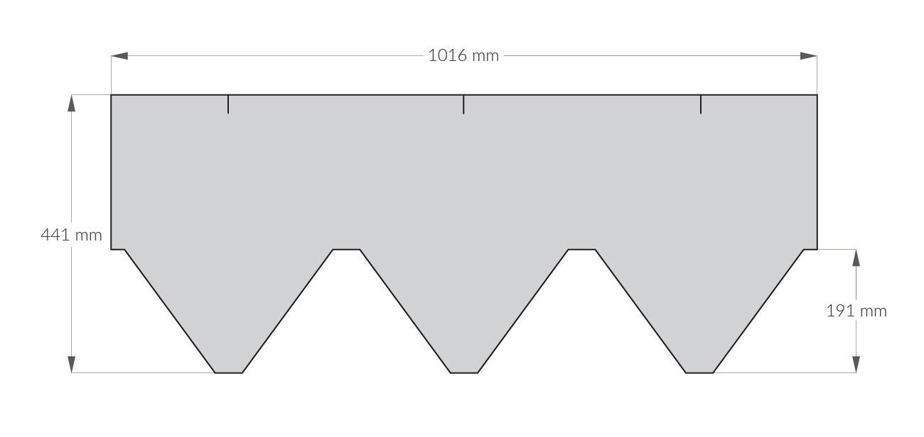 rysunek techniczny gontu z dożywotnią gwarancją gaf Sienna, pokrycia dachowe i akcesoria uzupełniające z USA, Kanada