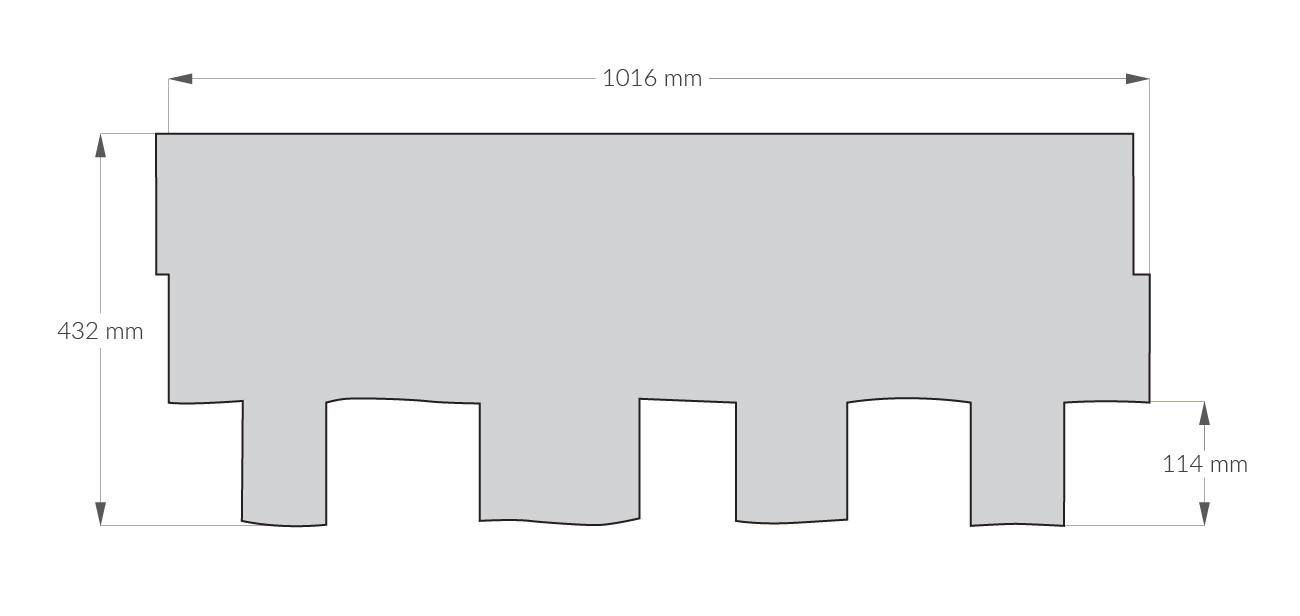 rysunek techniczny gontu z dożywotnią gwarancją gaf Grand Sequoia, pokrycia dachowe i akcesoria uzupełniające z USA, Kanada