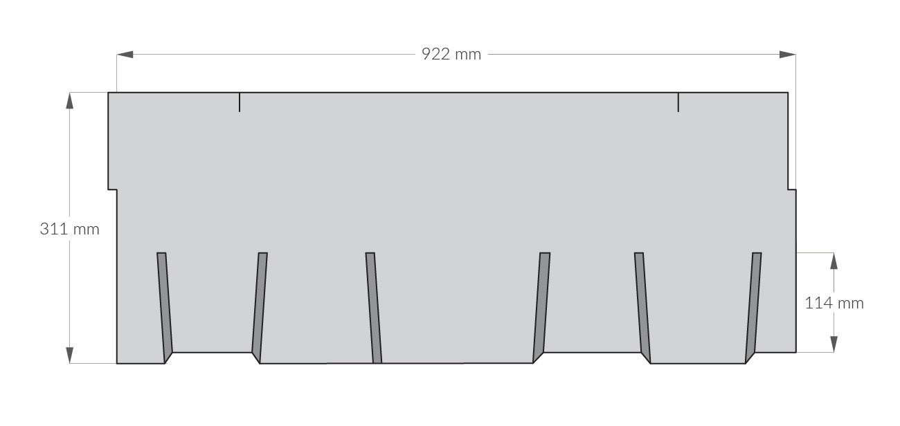 rysunek techniczny gontu z dożywotnią gwarancją gaf Glenwood, pokrycia dachowe i akcesoria uzupełniające z USA, Kanada