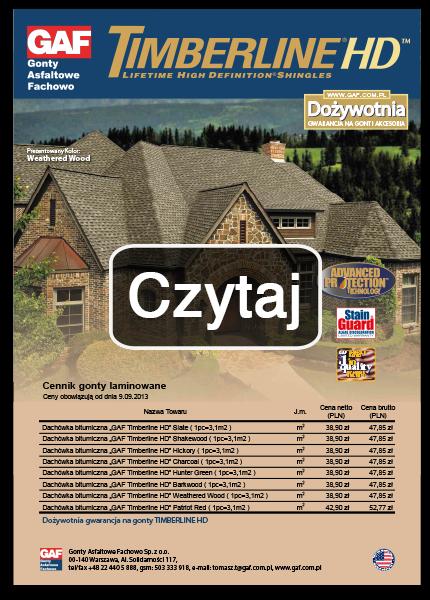 cennik detaliczny, gont bitumiczny laminowany, akcesoria dachowe, gaf, timberline hd, ceny, cennik,