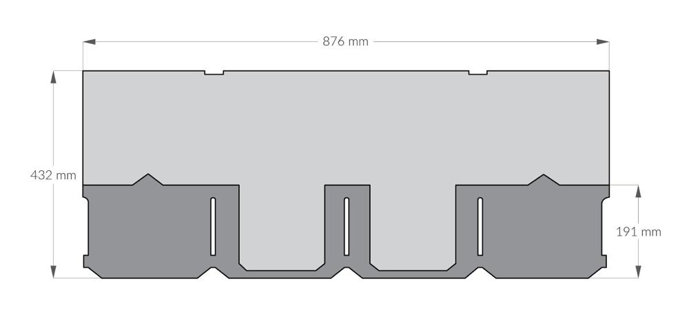 rysunek techniczny gontu z dożywotnią gwarancją gaf Camelot, pokrycia dachowe i akcesoria uzupełniające z USA, Kanada