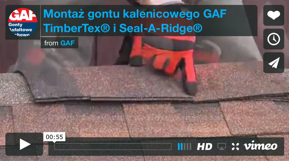Dachy i gonty z usa - Montaż gontu kalenicowego GAf TimberTex® i Seal-A-Ridge® na kalenicy