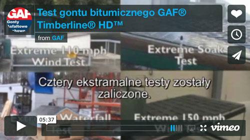 Gonty bitumiczne - Test na gontach gaf timberline