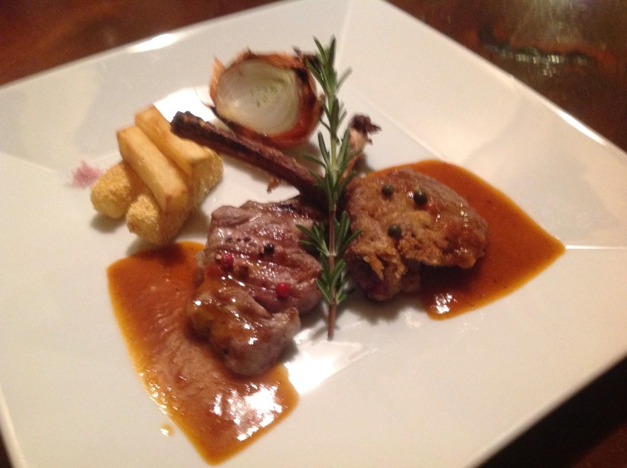 日替りコース、 肉料理 仔羊のカツレツ アニョーソース