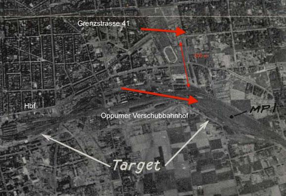 Optische Zielkarte des Einsatzes. Grenzstrasse 41/43 liegt unweit des Primärzielpunktes (MPI = Mission Point Indikator).