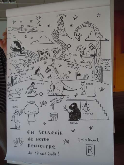 Régis Lejonc et les collégiens © Le Bonhomme