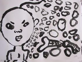 Création des scolaires avec le peintre Bruno Pilorget