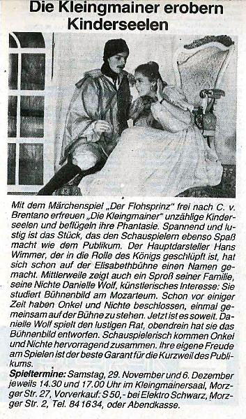 """Mit dem Stück """"Der Flohprinz"""" erobert die Theatergruppe Kinderseelen (1986)"""