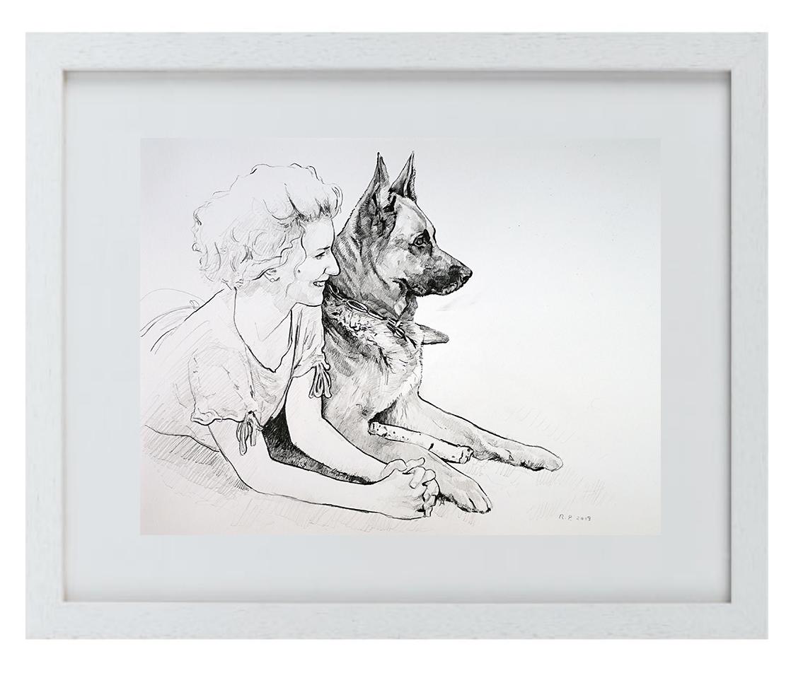 """Prima DIVA Zeichnung von """"Harry"""" dem Schäferhund & seinem Frauchen"""