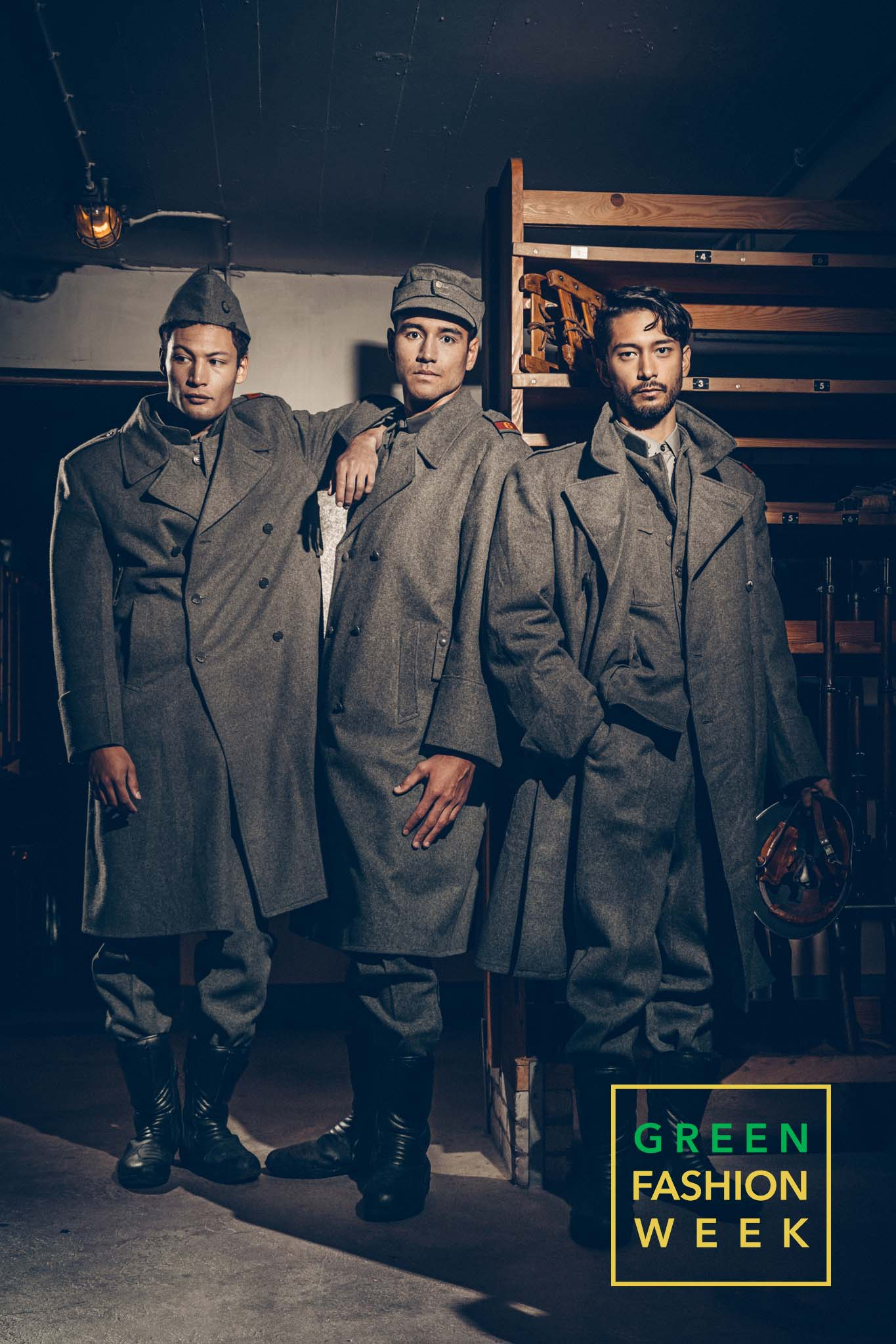 Models Tom Van Hauwaert, Mark Chanloung and Samuele Carenzi dressed with Museum's World War II uniforms. Photo Credit: Vittorio La Fata | www.vittoriolafata.it