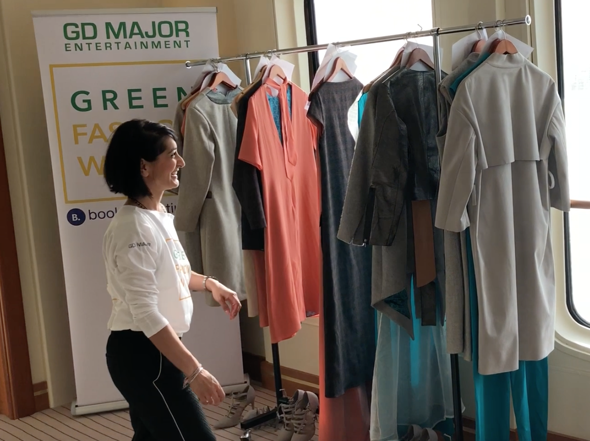"Bav Tailor arranges her collection for the show: her brand ""Bav Tailor"" is characterized by geometrical forms and finest certified natural fabrics"". @bavtailor"