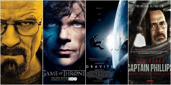"""Breaking Bad"", ""Juego de Tronos"", ""Gravity"", ""Capitán Phillips"""