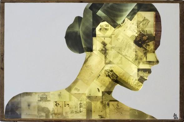Retrato realizado con radiografías de cuerpo humano.