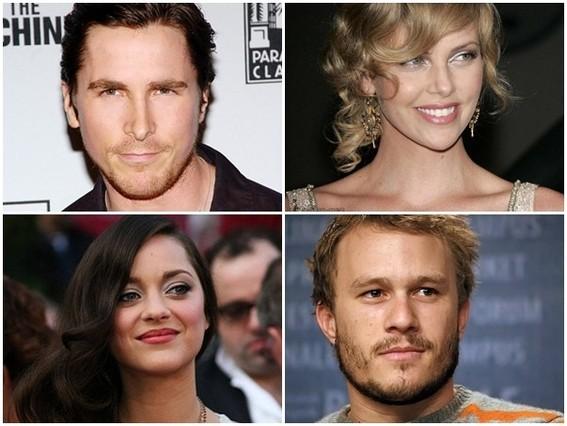 En la parte superior Christian Bale y Charlize Theron. Parte inferior Marion Cotillard y Heath Ledger.