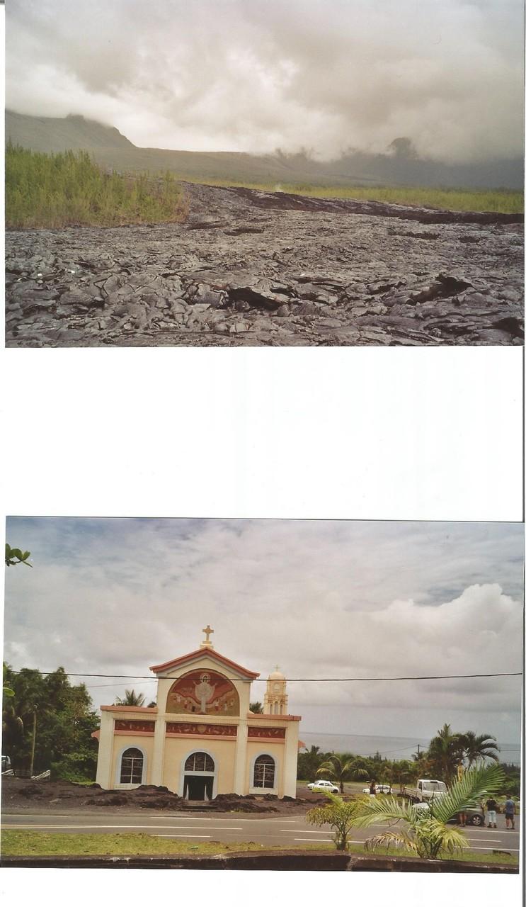coulée de lave  du volcan du Piton de la Fournaise                         - - -  chapelle   Notre Dame des Laves