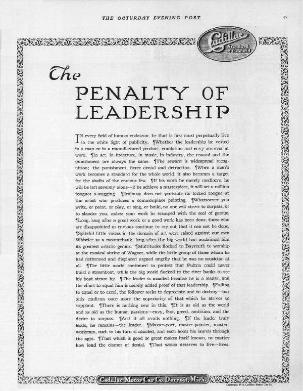 Theodore McManus - The penalty of leadership - la comunicazione soft sell - Remo Luzi - Marketing e Leadership