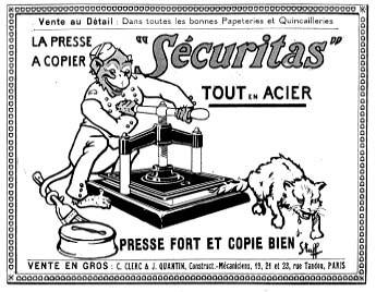 """Publicité pour presse à copier """"Securitas"""""""