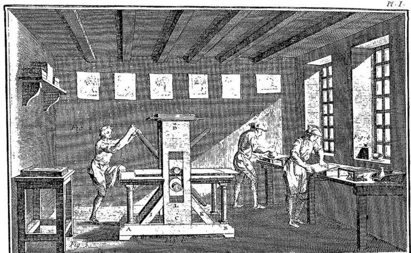 Presse xylographique à bras en bois