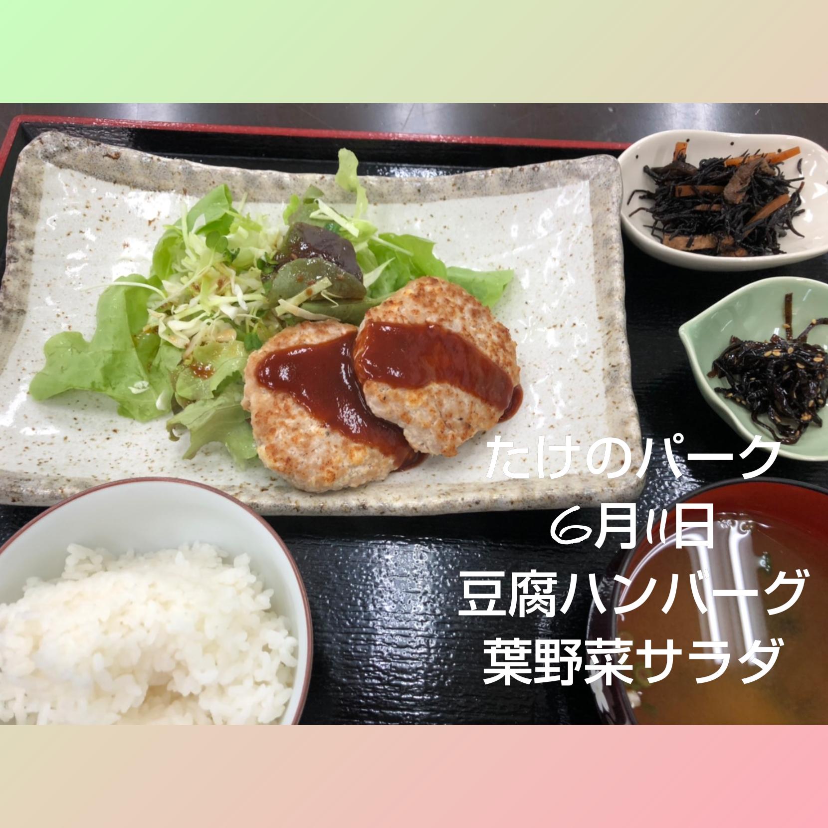 豆腐ハンバーグと葉野菜サラダ定食の写真