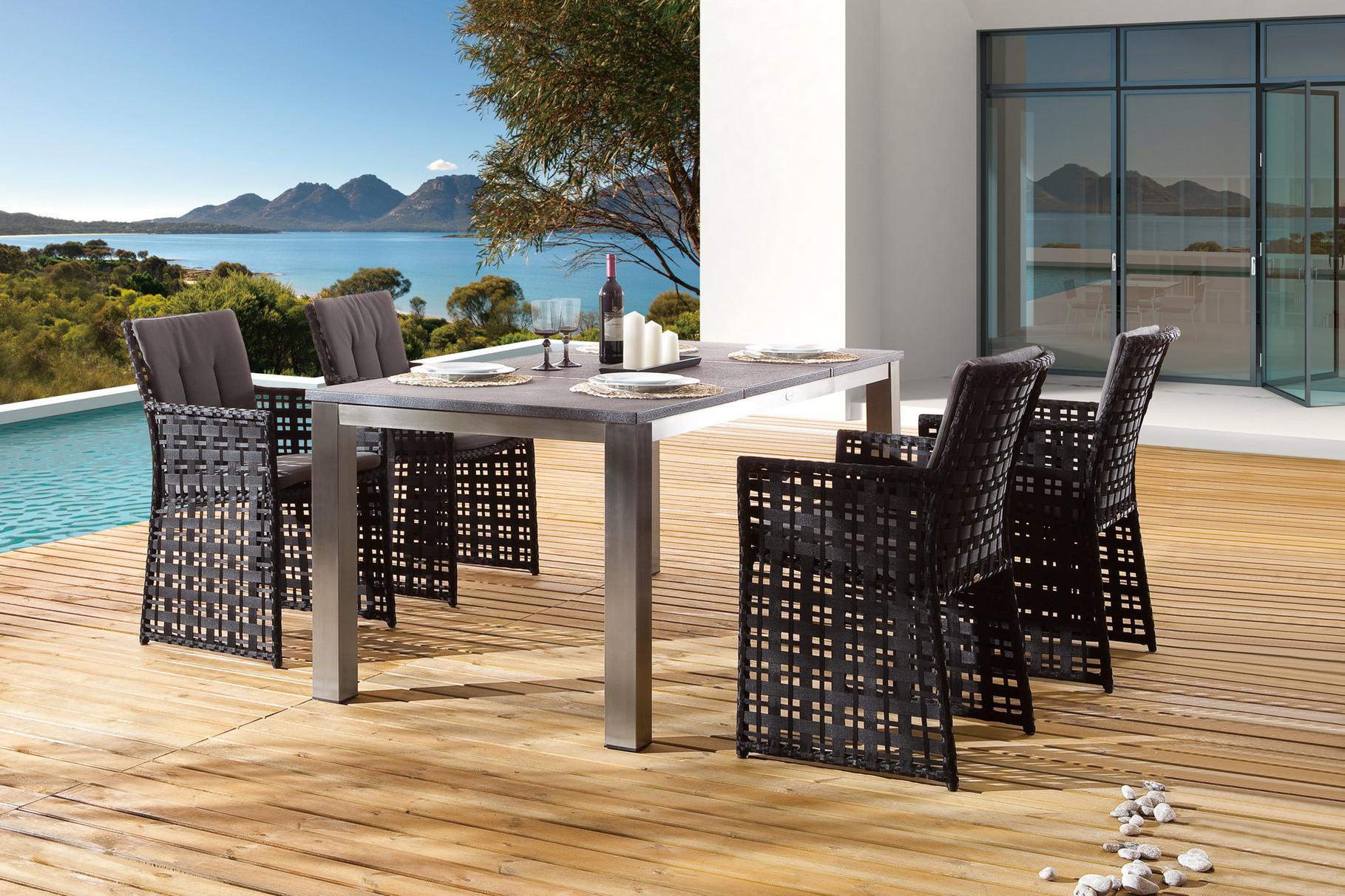 Serie Barcello Schwarz | Tisch Square Edelstahl Granit