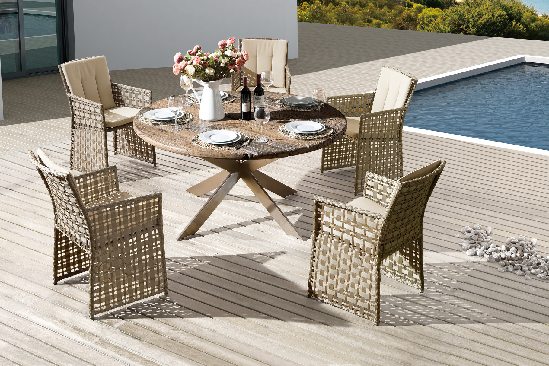 Serie Barcello Beige | Tisch Cancun Second Life Wood Edelstahl