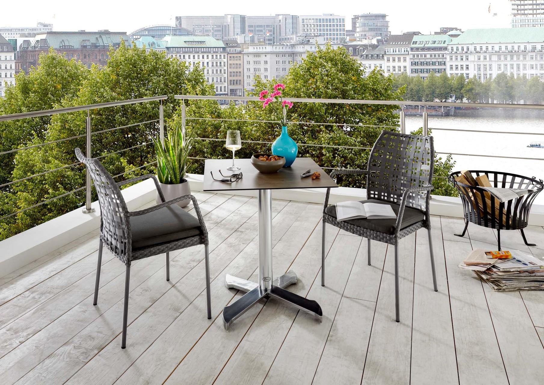 Serie Torres Schwarz | Tisch LOFT mit HPL Tischplatte
