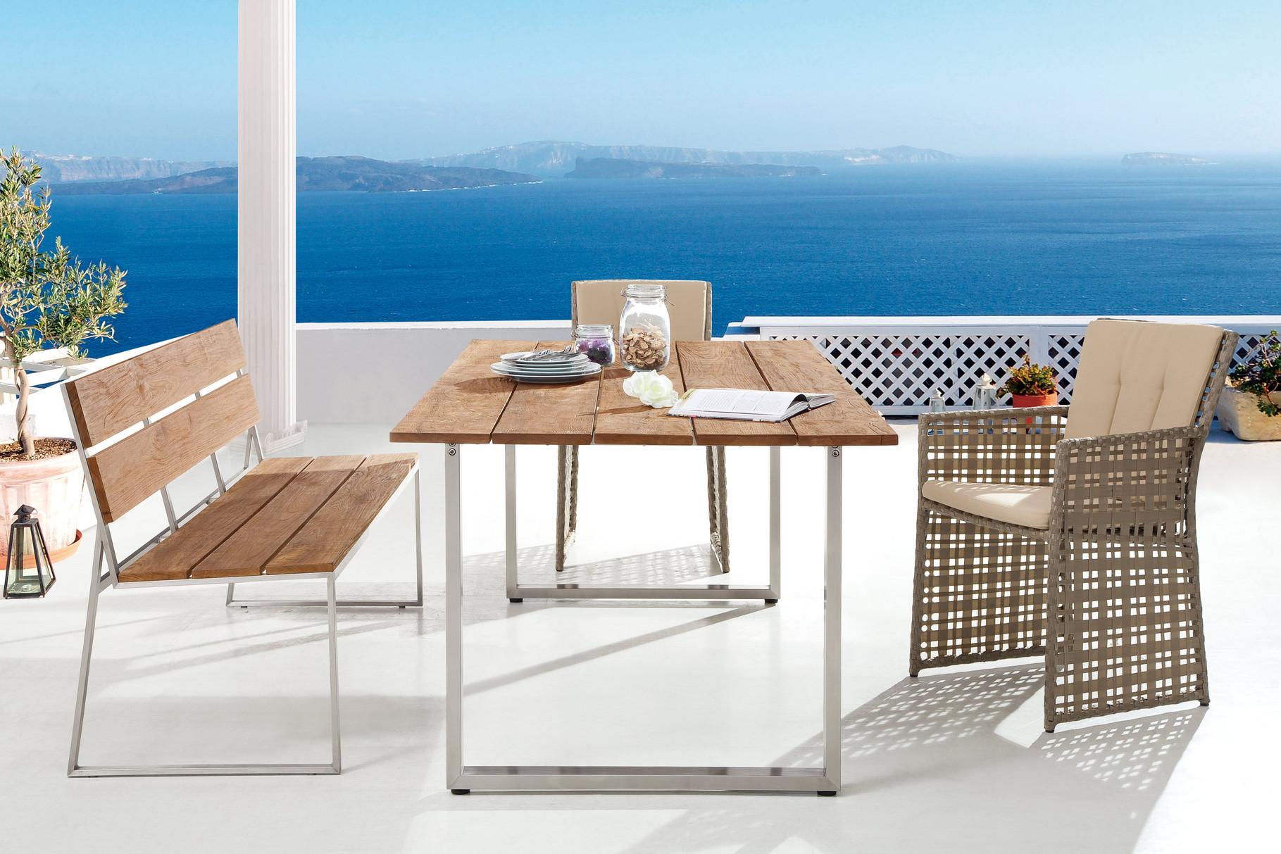 Serie Barcello Beige | Tisch und Bank Salvador Teak Edelstahl
