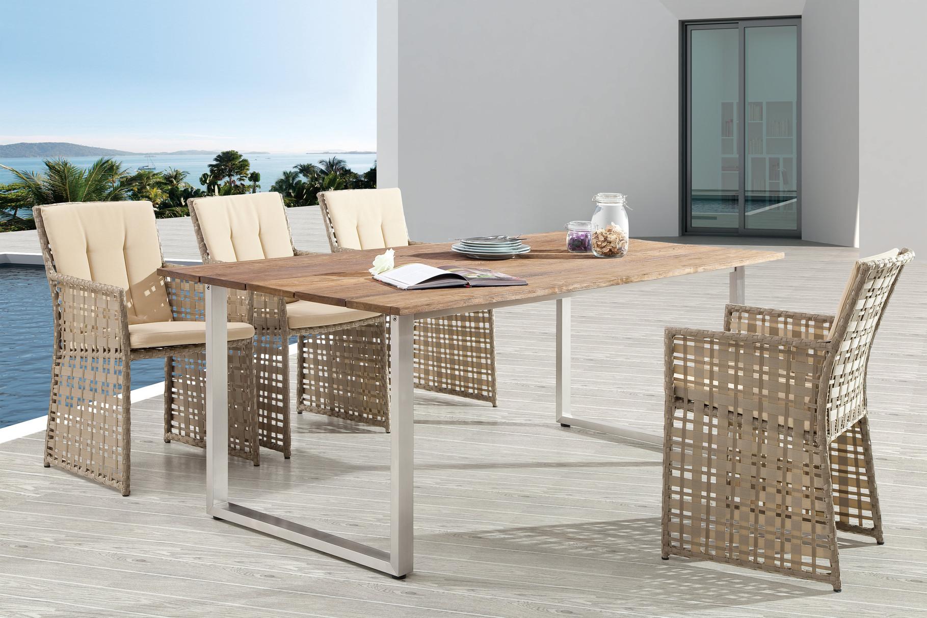 Serie Barcello Beige | Tisch Toledo Second Life Wood Edelstahl