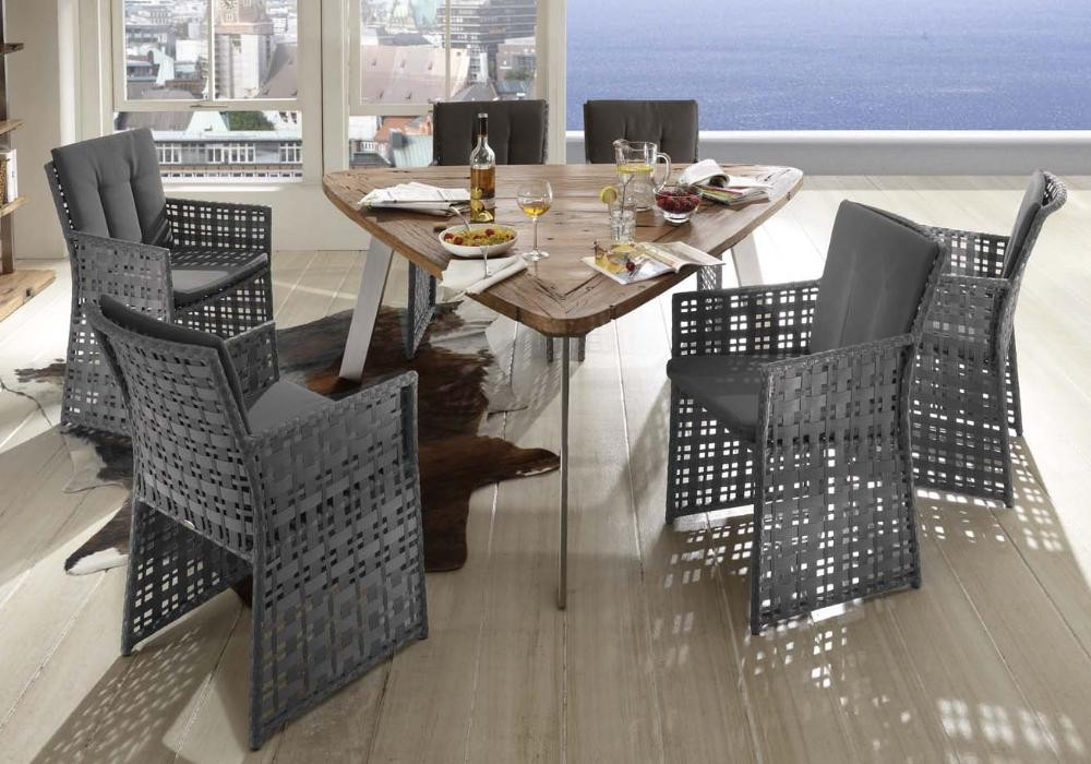 Serie Barcello Grau | Tisch Toledo Dreieckig Second Life Wood Edelstahl